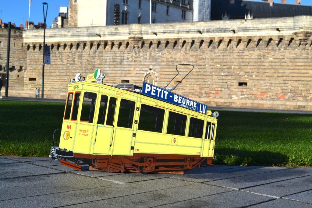 Décoration bois tramway jaune Mekarski