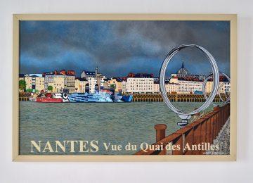 Peinture décorative en bois vue sur Nantes depuis le Hangar à Bananes