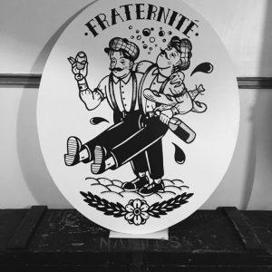 Enseigne bois restaurant La Fraternité Nantes