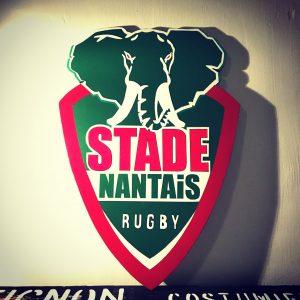 Enseigne bois stade de Rugby Nantes