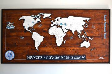 Décoration murale Carte du monde en bois